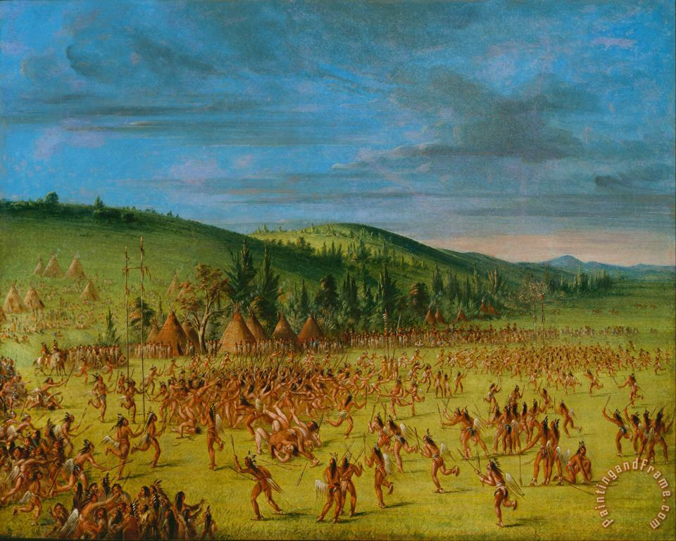 George Catlin Ball Play of The Choctaw Ball Up Art Painting