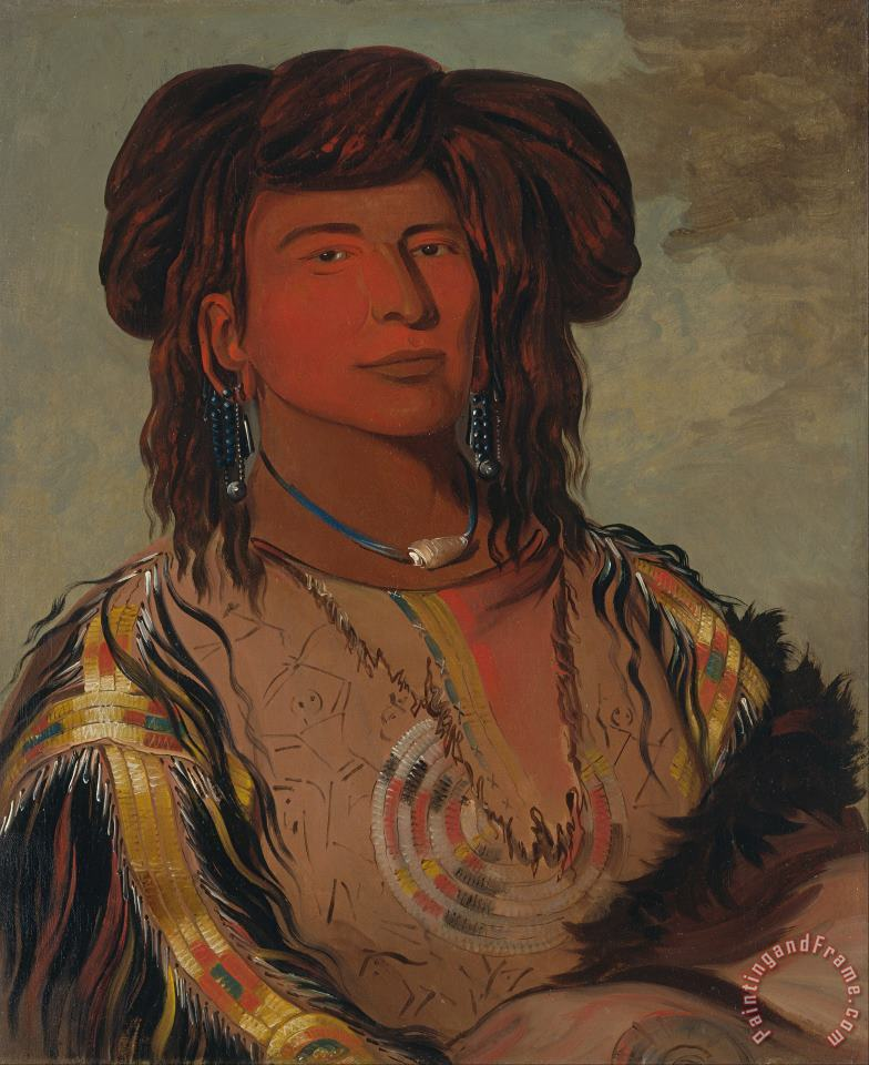 George Catlin Ha Won Je Tah, One Horn, Head Chief of The Miniconjou Tribe Art Painting