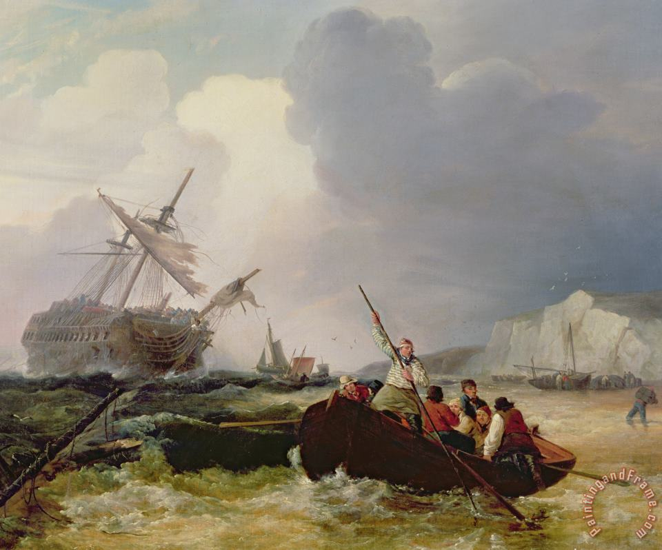 Rowing Boat Going to the Aid of a Man-o'-War in a Storm painting - George Chambers Rowing Boat Going to the Aid of a Man-o'-War in a Storm Art Print
