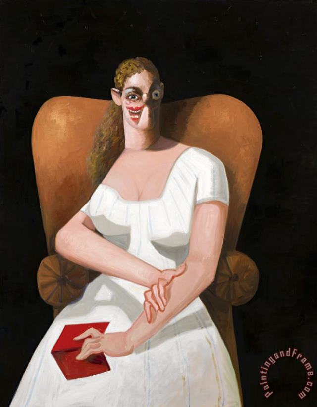 Woman on Brown Chair painting - George Condo Woman on Brown Chair Art Print