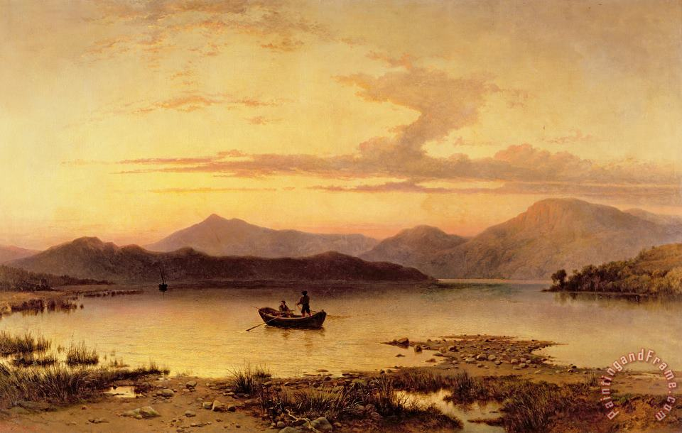 Loch Etive from Bonawe in the Evening painting - George Edwards Hering Loch Etive from Bonawe in the Evening Art Print