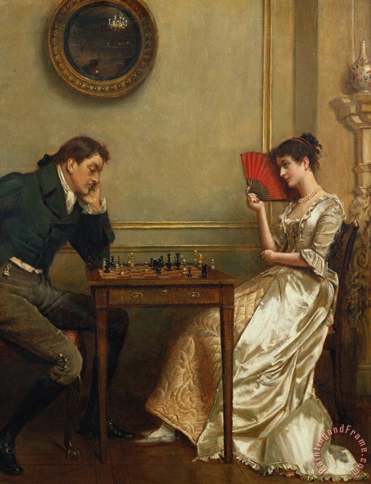 A Game Of Chess painting - George Goodwin Kilburne A Game Of Chess Art Print