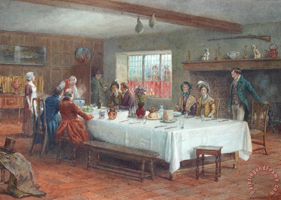 A Meal Stop at a Coaching Inn painting - George Goodwin Kilburne A Meal Stop at a Coaching Inn Art Print