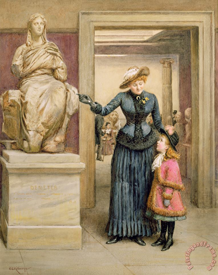 At The British Museum painting - George Goodwin Kilburne At The British Museum Art Print