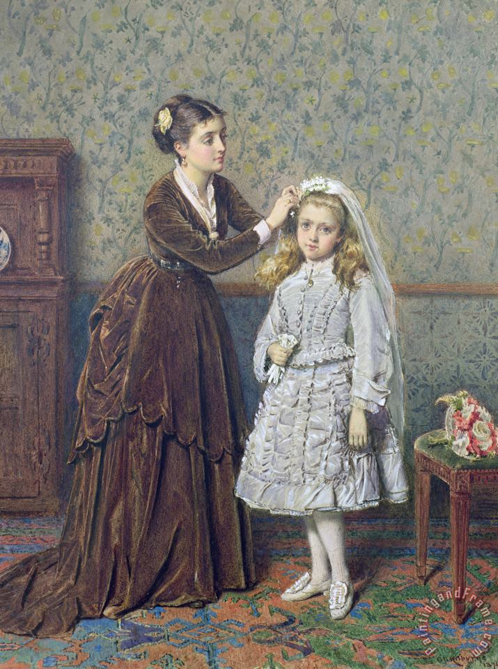 Her First Communion painting - George Goodwin Kilburne Her First Communion Art Print
