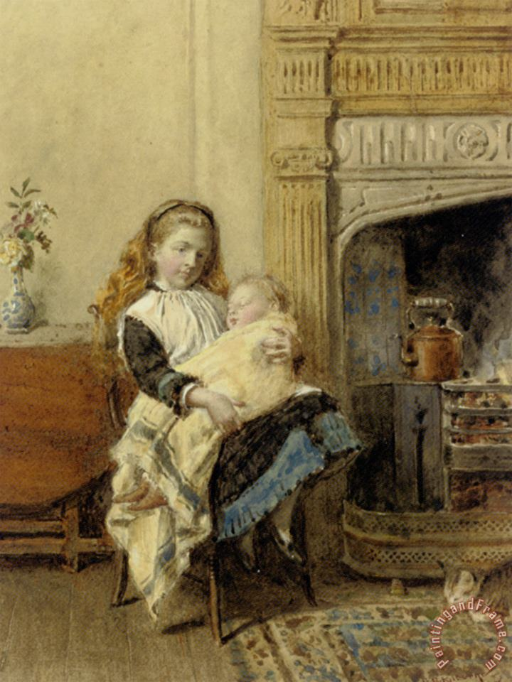Minding Baby painting - George Goodwin Kilburne Minding Baby Art Print