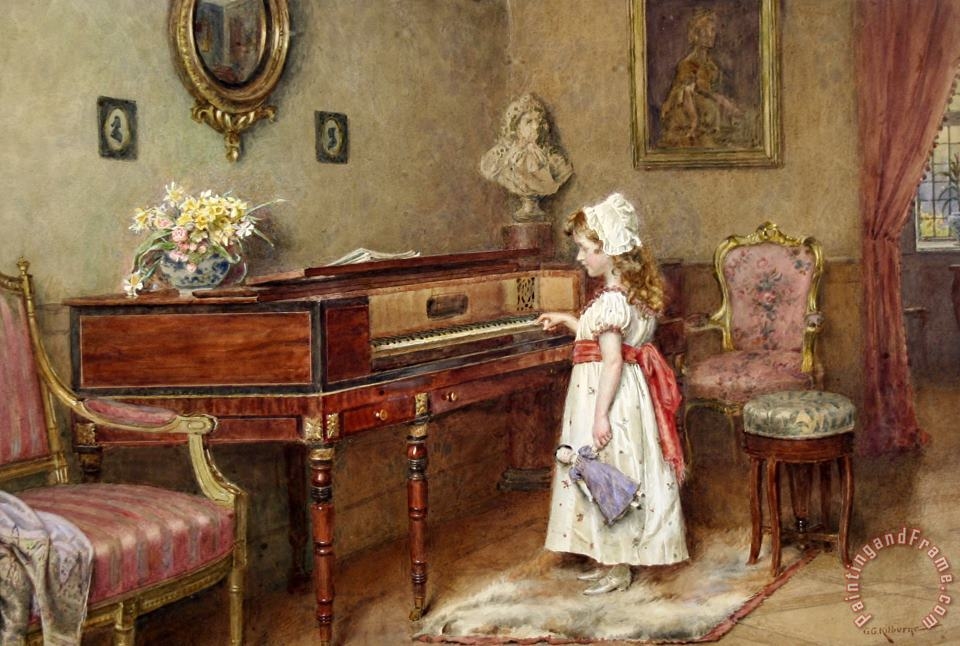 Piano Practice painting - George Goodwin Kilburne Piano Practice Art Print
