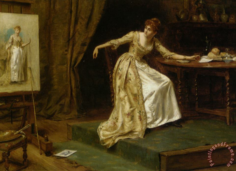 The Artists Model painting - George Goodwin Kilburne The Artists Model Art Print