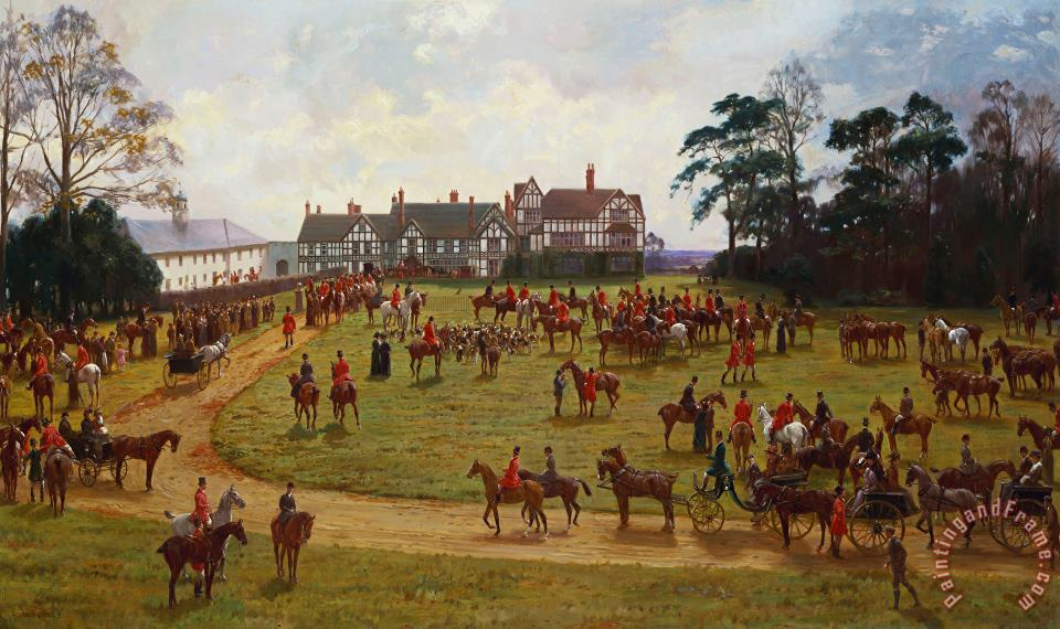 The Cheshire Hunt The Meet At Calveley Hall painting - George Goodwin Kilburne The Cheshire Hunt The Meet At Calveley Hall Art Print