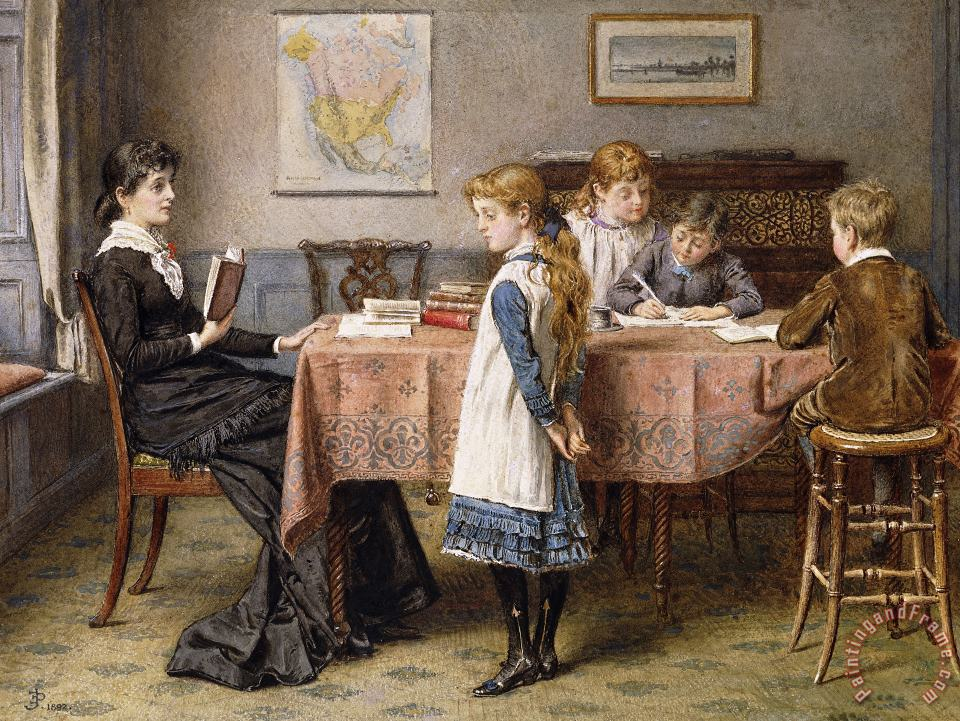 The Lesson painting - George Goodwin Kilburne The Lesson Art Print