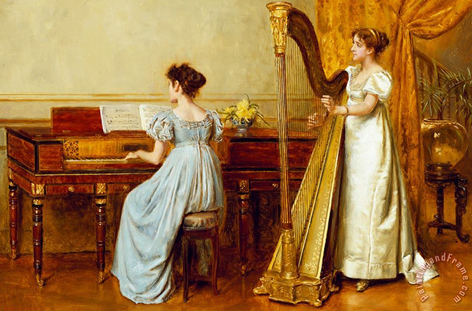 The Music Room painting - George Goodwin Kilburne The Music Room Art Print