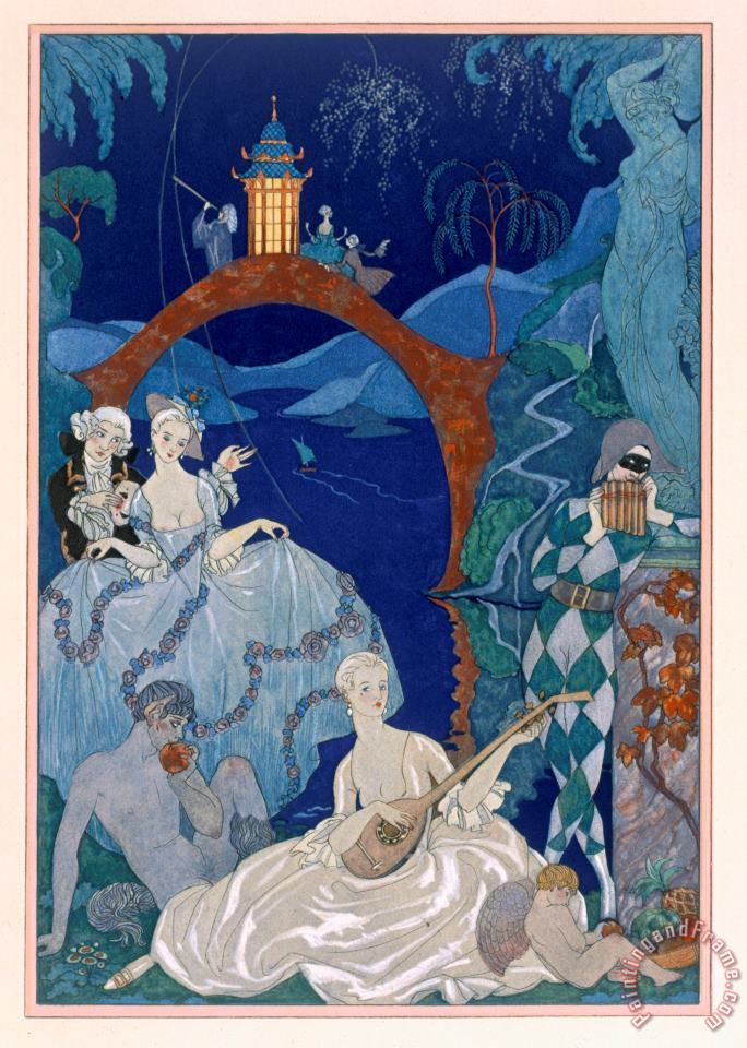 Ball Under The Blue Moon painting - Georges Barbier Ball Under The Blue Moon Art Print