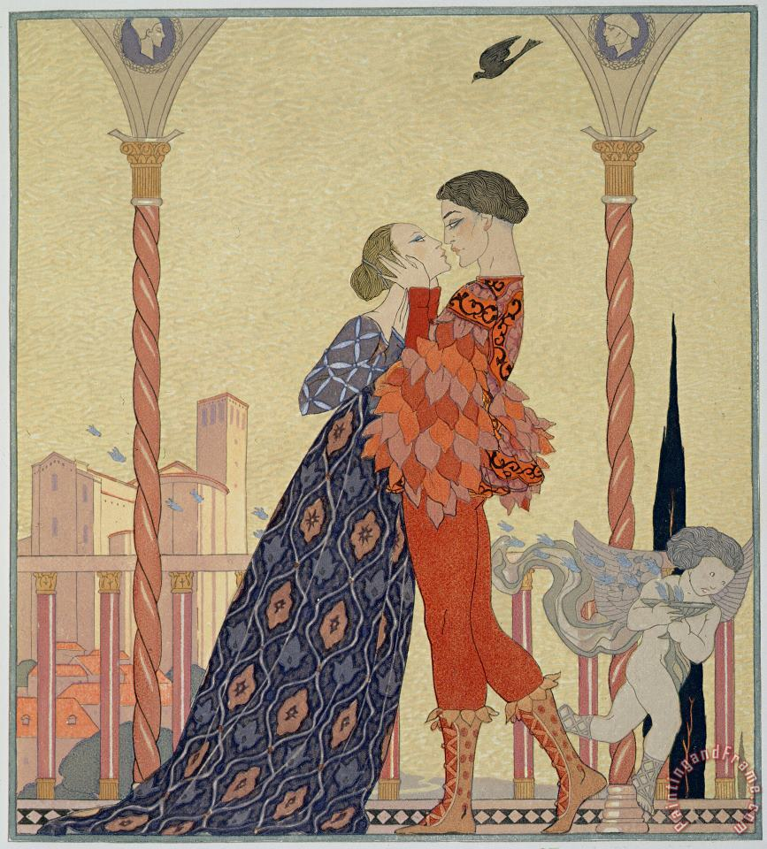 Lovers On A Balcony painting - Georges Barbier Lovers On A Balcony Art Print