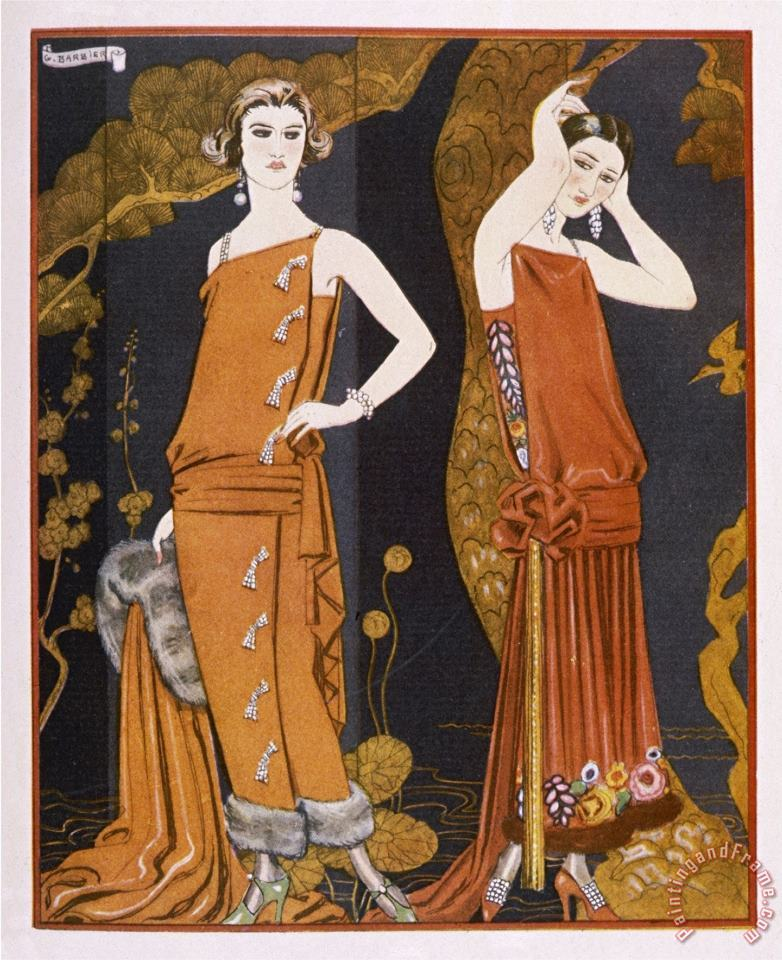Orientally Inspired Gowns by Worth in Lacquer Reds painting - Georges Barbier Orientally Inspired Gowns by Worth in Lacquer Reds Art Print