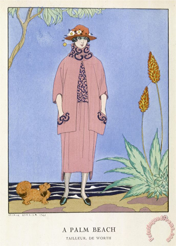 Tailored Suit by Worth in Salmon Pink And Black painting - Georges Barbier Tailored Suit by Worth in Salmon Pink And Black Art Print