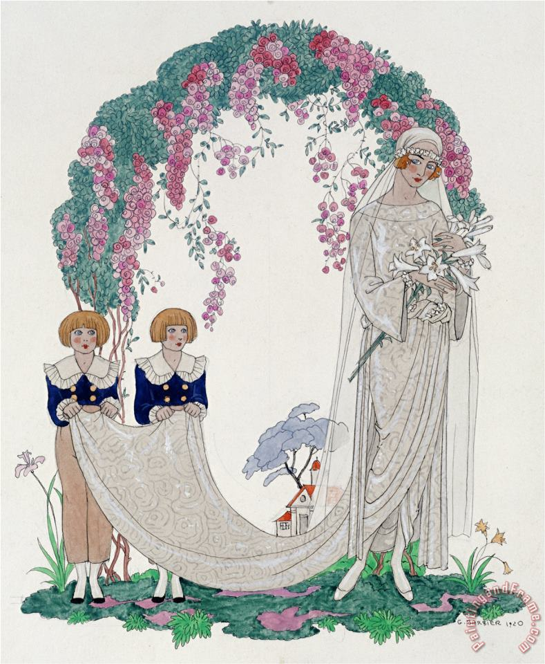 The Bride 1920 painting - Georges Barbier The Bride 1920 Art Print