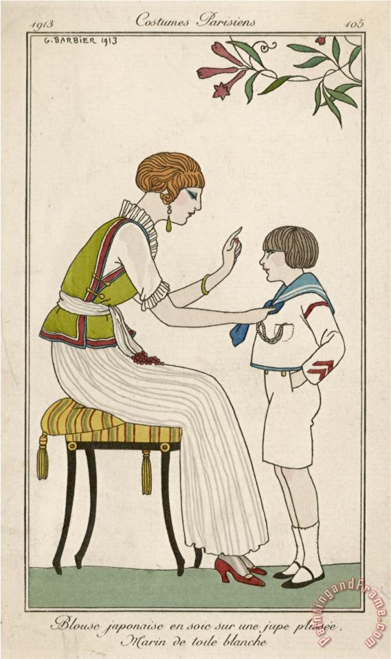 Woman Narrow Pleated Skirt Japonaise Silk Blouse Short Sleevless Tunic And Sash painting - Georges Barbier Woman Narrow Pleated Skirt Japonaise Silk Blouse Short Sleevless Tunic And Sash Art Print