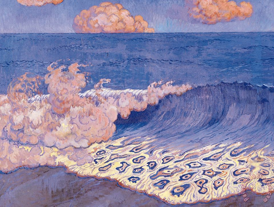 Blue Seascape Wave Effect painting - Georges Lacombe Blue Seascape Wave Effect Art Print