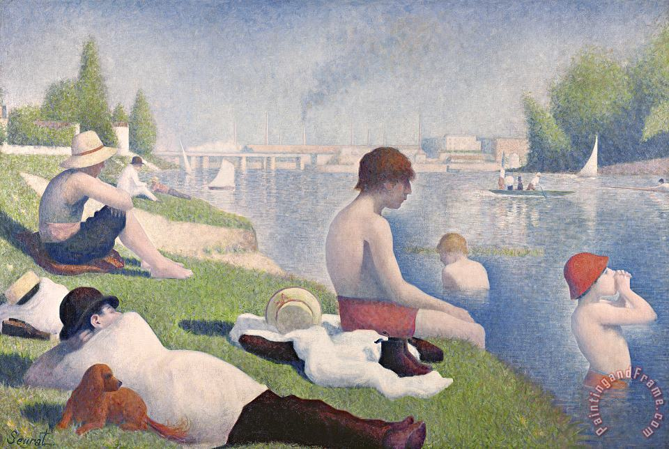 Bathers at Asnieres painting - Georges Pierre Seurat Bathers at Asnieres Art Print