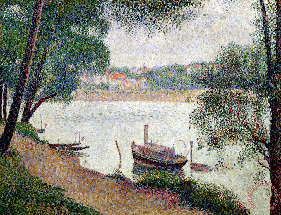 Georges Pierre Seurat River Landscape With A Boat Art Print