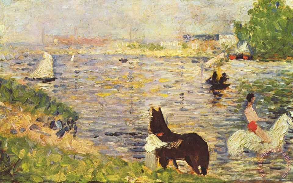 Georges Seurat White And Black Horse in The River Art Painting