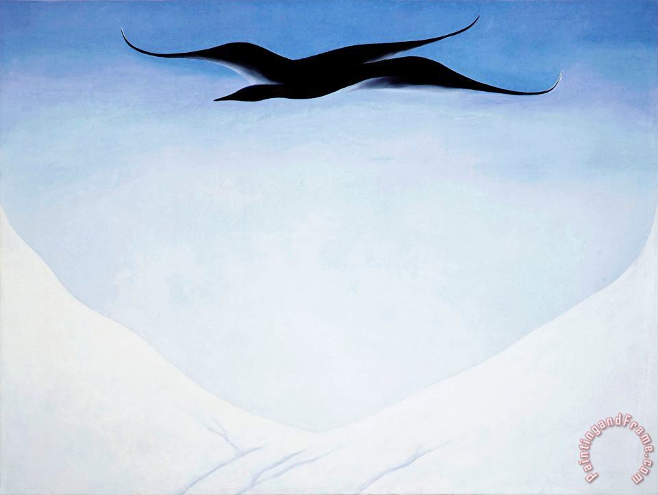 A Black Bird with Snow Covered Red Hills painting - Georgia O'keeffe A Black Bird with Snow Covered Red Hills Art Print