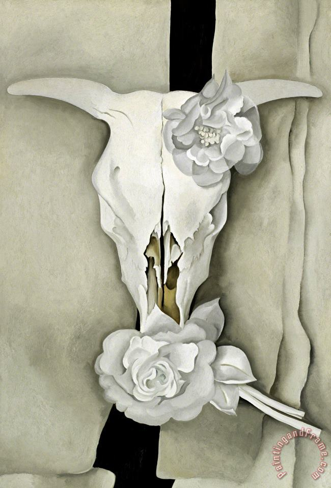 Georgia O'keeffe Cow S Skull with Calico Roses Art Print