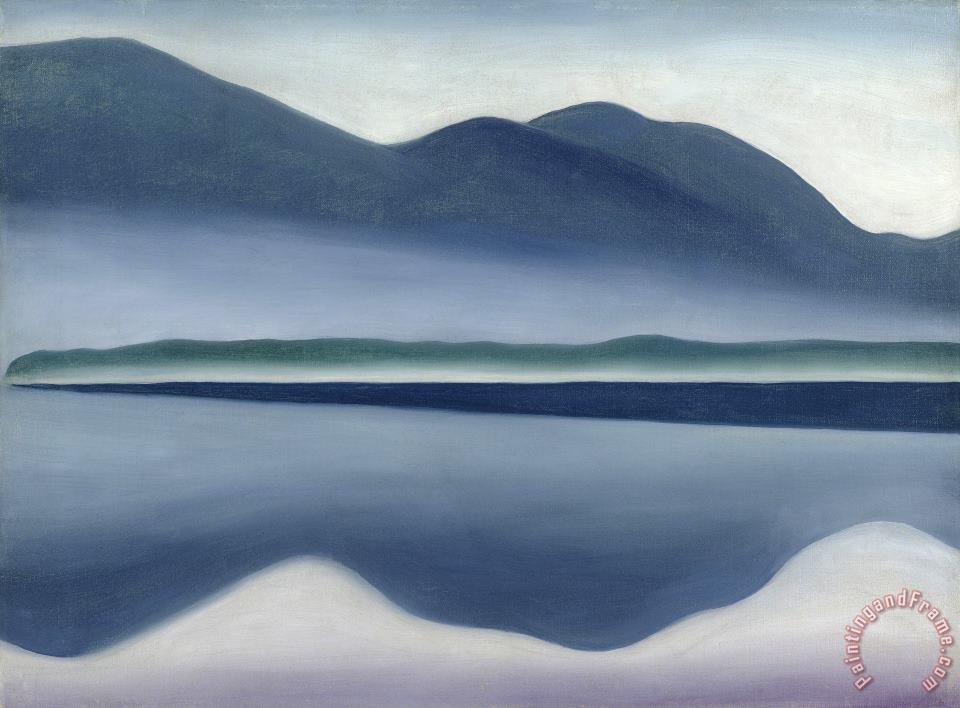 Lake George Formerly Reflection Seascape painting - Georgia O'keeffe Lake George Formerly Reflection Seascape Art Print