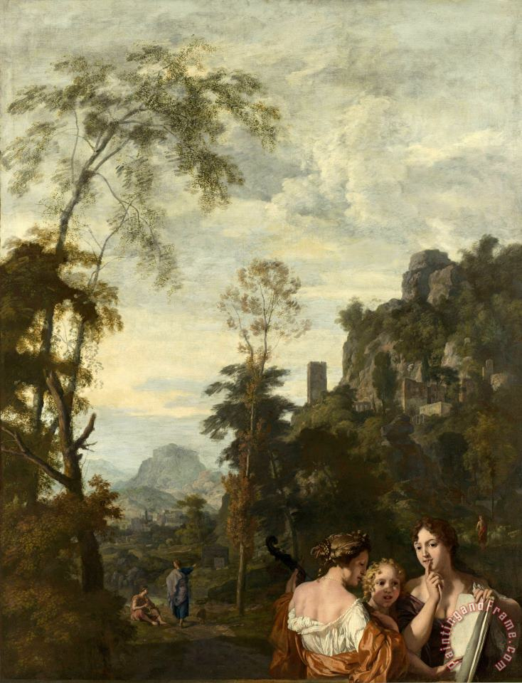 Gerard de Lairesse Italian Landscape with Three Women Making Music Art Print