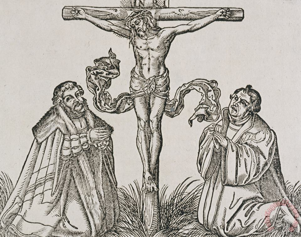 Martin Luther And Frederick IIi Of Saxony Kneeling Before Christ On The Cross painting - German School Martin Luther And Frederick IIi Of Saxony Kneeling Before Christ On The Cross Art Print