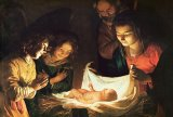 Adoration of the baby by Gerrit van Honthorst