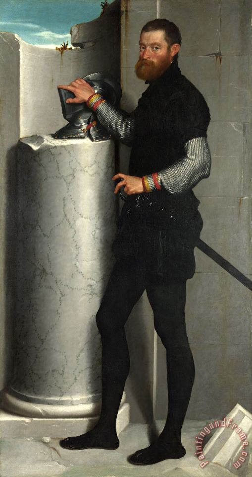Giovanni Battista Moroni Portrait of a Gentleman with His Helmet on a Column Shaft Art Print