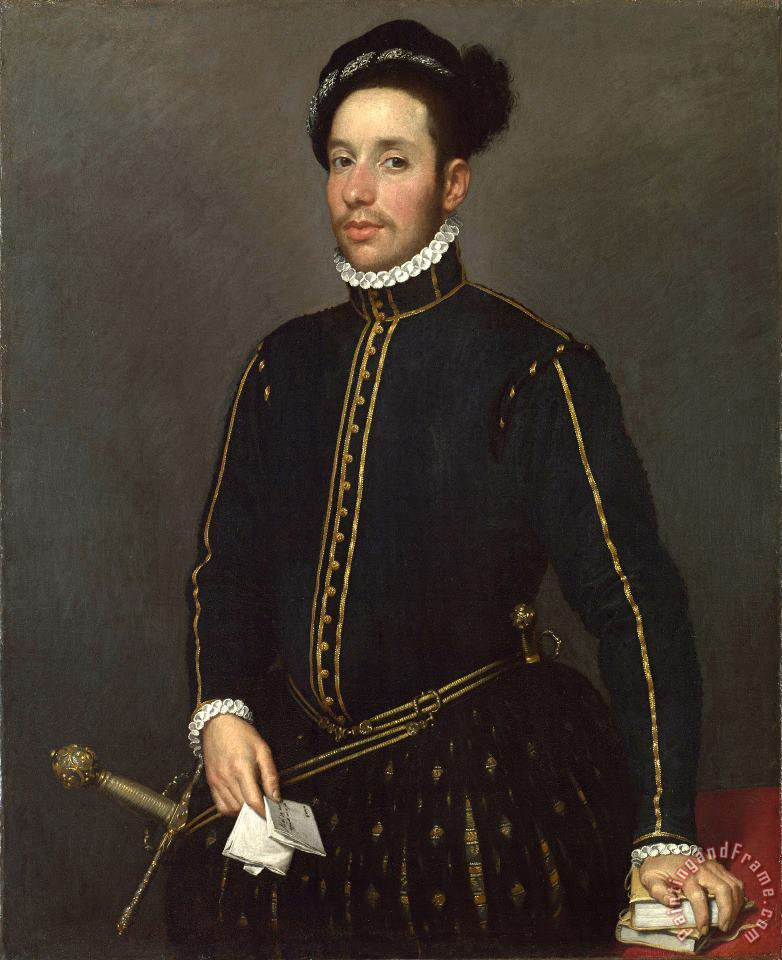 Portrait of a Left Handed Gentleman with Two Quartos And a Letter ('il Gentile Cavaliere') painting - Giovanni Battista Moroni Portrait of a Left Handed Gentleman with Two Quartos And a Letter ('il Gentile Cavaliere') Art Print