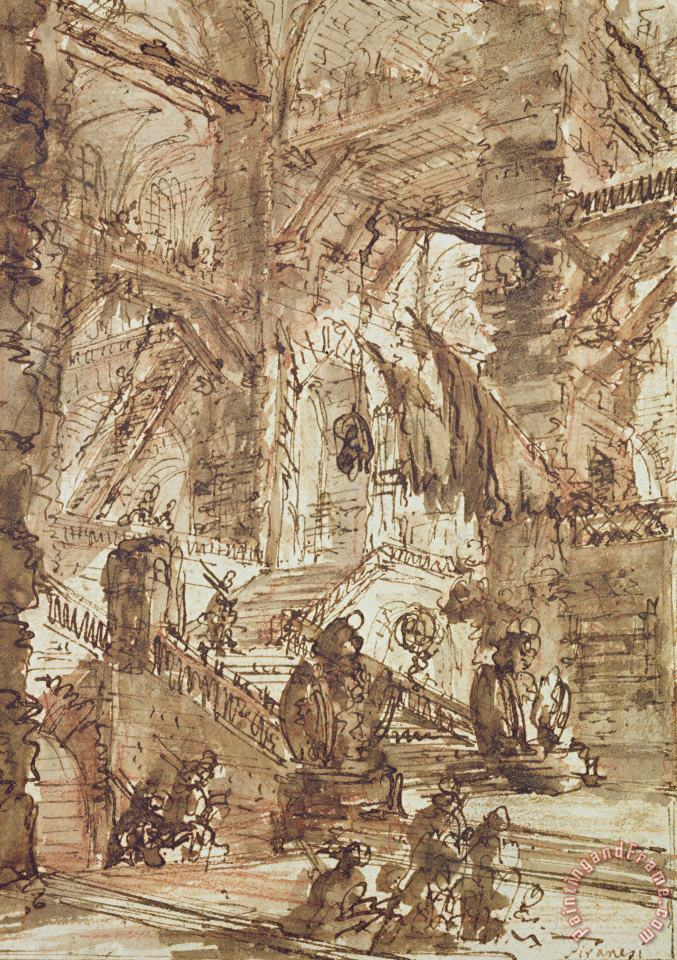 Preparatory Drawing For Plate Number Viii Of The Carceri Al'invenzione Series painting - Giovanni Battista Piranesi Preparatory Drawing For Plate Number Viii Of The Carceri Al'invenzione Series Art Print