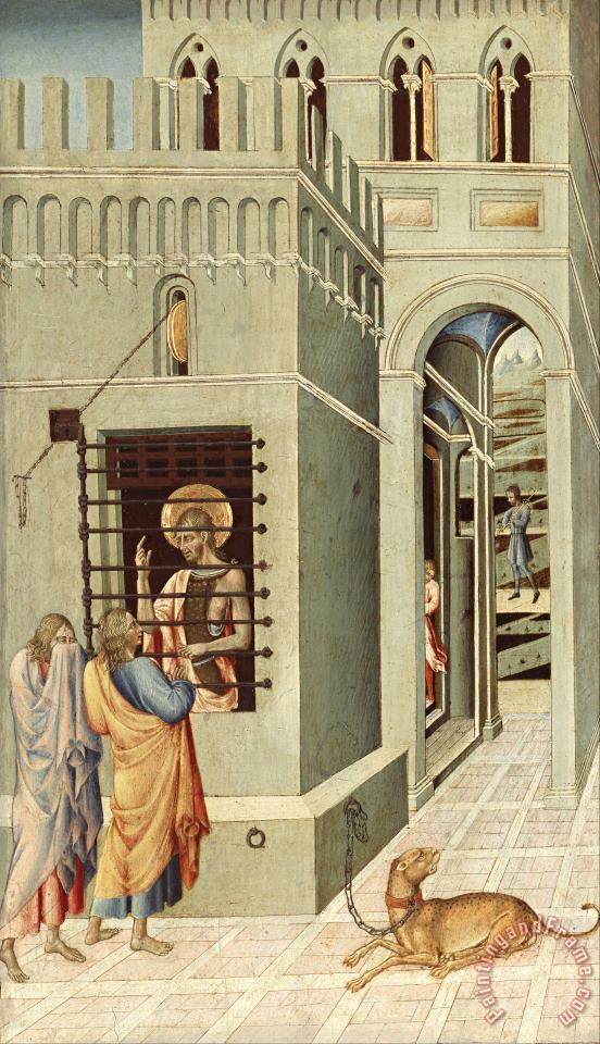Saint John The Baptist in Prison Visited by Two Disciples painting - Giovanni di Paolo Saint John The Baptist in Prison Visited by Two Disciples Art Print