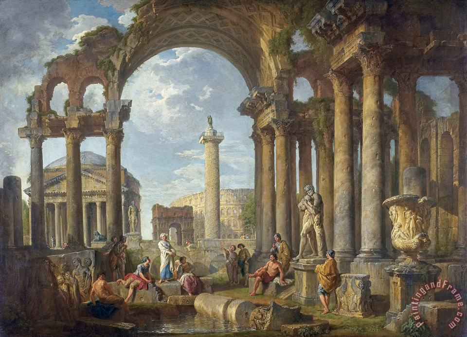 A Capriccio of Roman Ruins with The Pantheon painting - Giovanni Paolo Panini A Capriccio of Roman Ruins with The Pantheon Art Print