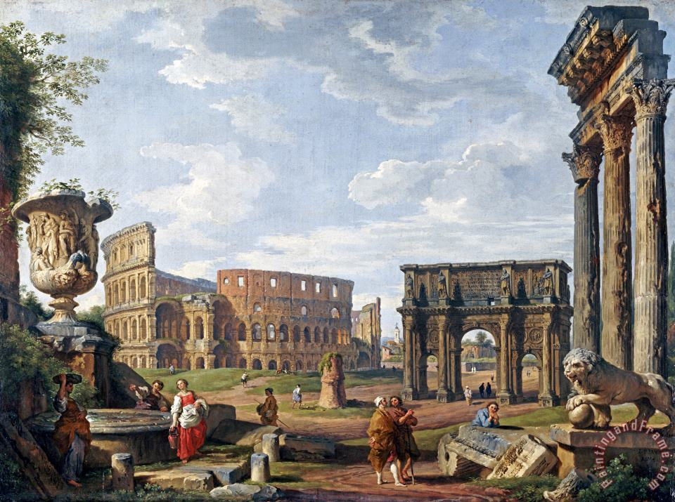 Giovanni Paolo Panini A Capriccio View of Rome with The Colosseum Art Painting