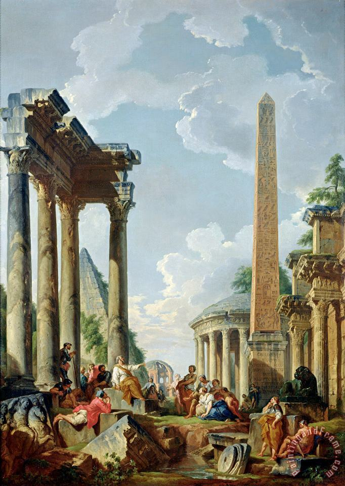Architectural Capriccio with a Preacher in The Ruins painting - Giovanni Paolo Panini Architectural Capriccio with a Preacher in The Ruins Art Print