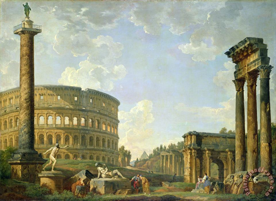 The Colosseum and other Monuments painting - Giovanni Paolo Panini The Colosseum and other Monuments Art Print