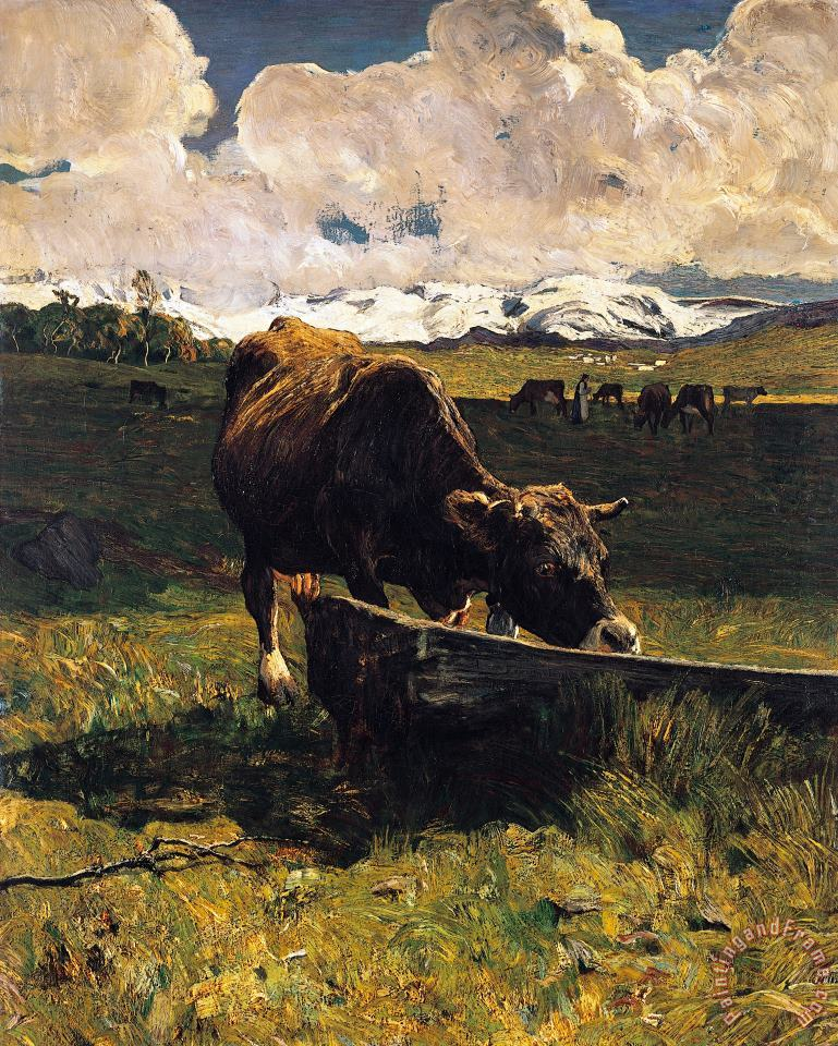 Brown Cow At Trough painting - Giovanni Segantini Brown Cow At Trough Art Print