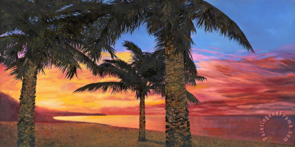 Palme Al Tramonto painting - Collection 7 Palme Al Tramonto Art Print