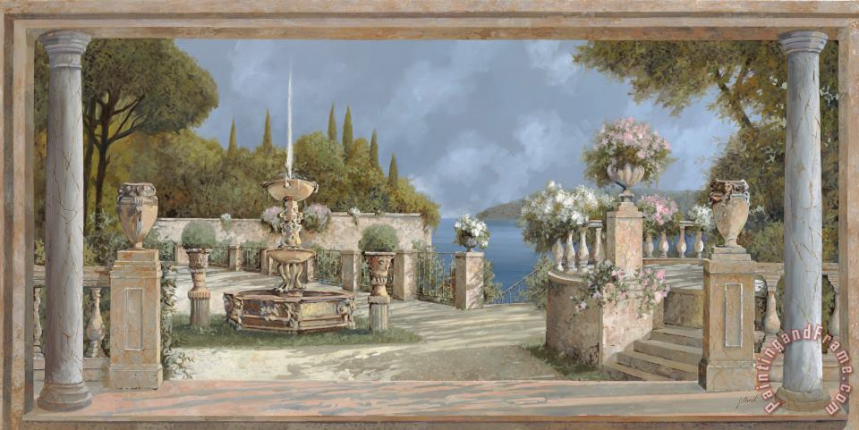villa sul lago di Como painting - Collection 7 villa sul lago di Como Art Print