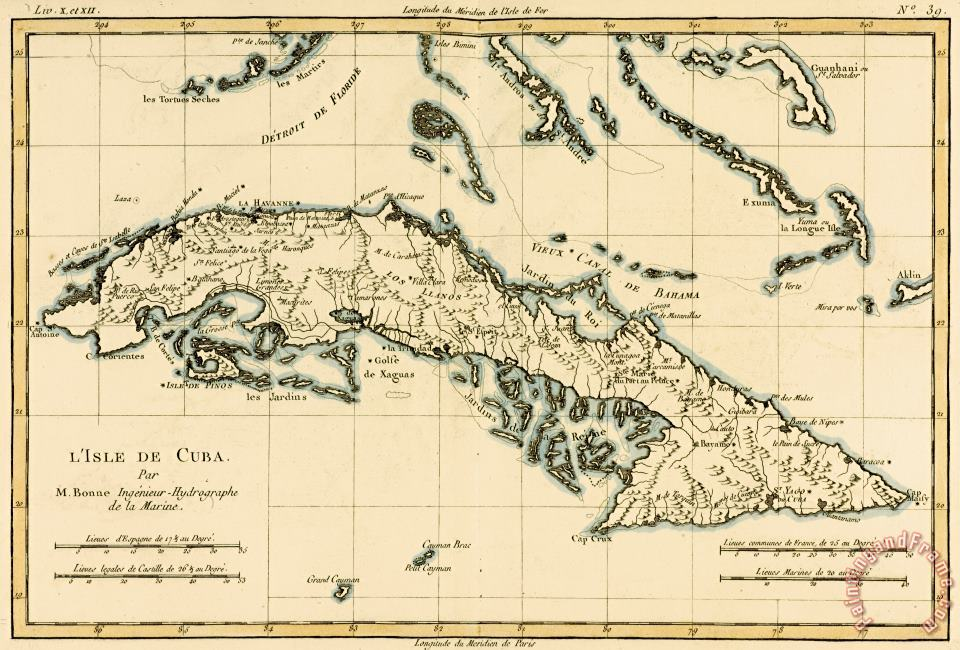 Guillaume Raynal Antique Map of Cuba Art Print