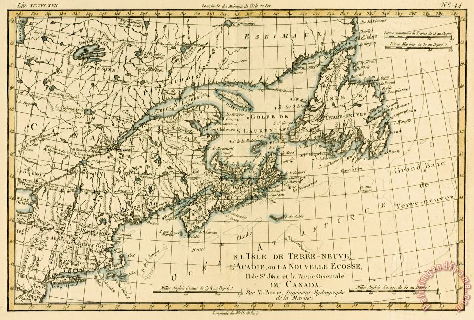 Guillaume Raynal Antique Map of Eastern Canada Art Print
