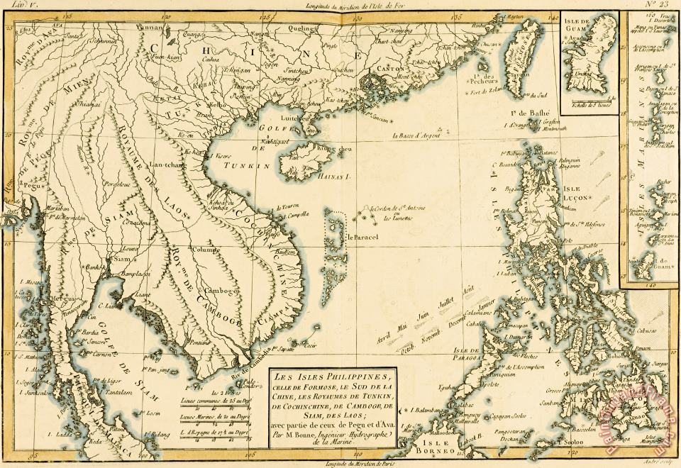 Antique Map of South East Asia painting - Guillaume Raynal Antique Map of South East Asia Art Print
