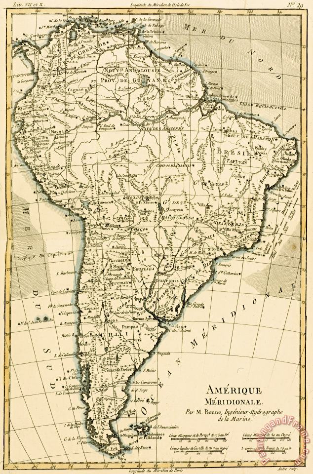 Guillaume Raynal Map of South America Art Painting