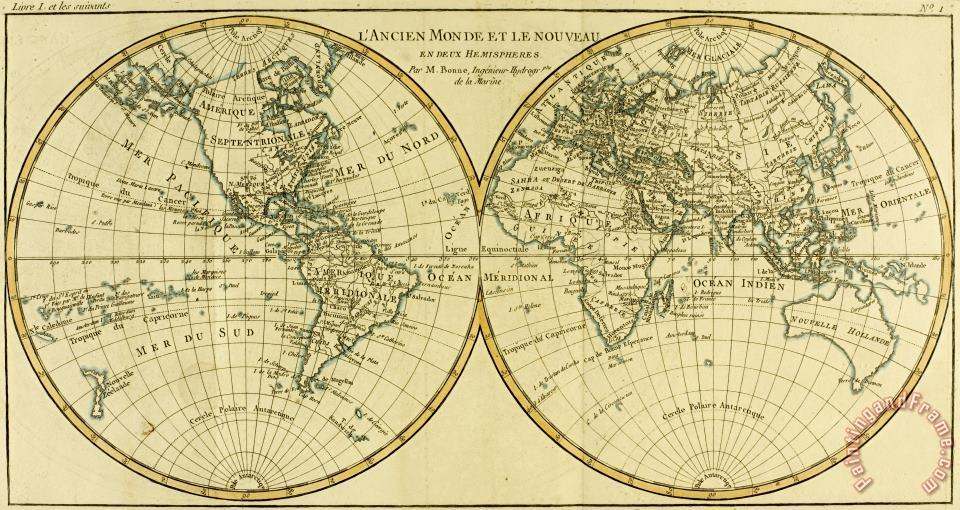 Map of the World in two Hemispheres painting - Guillaume Raynal Map of the World in two Hemispheres Art Print