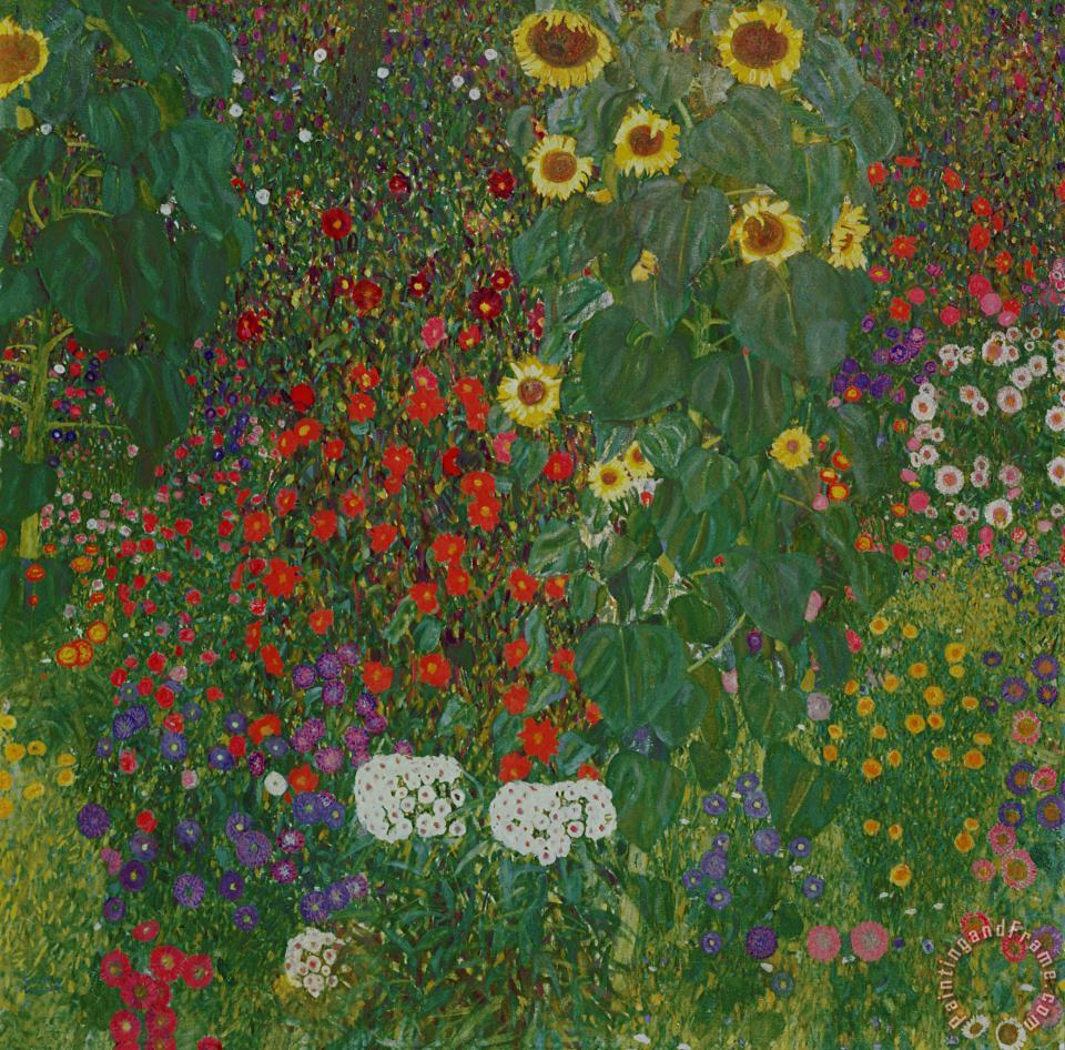 Gustav Klimt Farm Garden with Flowers Art Print