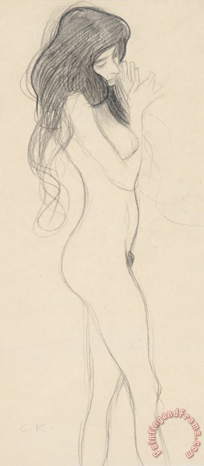 Female Nude Standing Drawing painting - Gustav Klimt Female Nude Standing Drawing Art Print