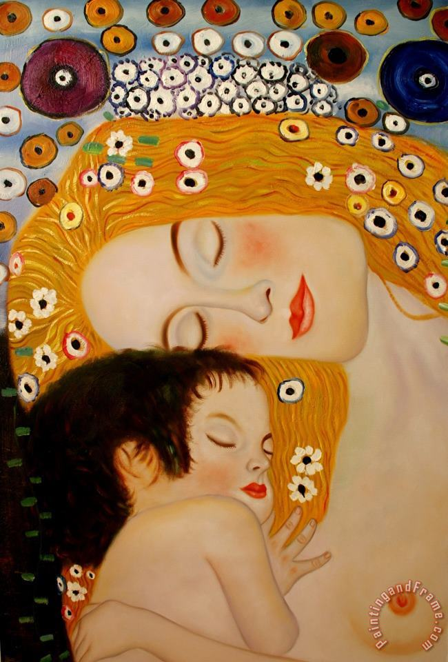 Gustav Klimt Three Ages of Woman Mother And Child (detail Ii) Art Print
